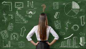 Back view of businesswoman with question mark over her head on green background Royalty Free Stock Image