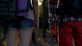Back view of campers with backpacks, statistics of touristic accidents, danger. Stock photo royalty free stock image