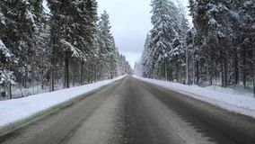 Back view from car mounted camera when vehicle driving winter snowy forest road. Video 4k.  stock video footage