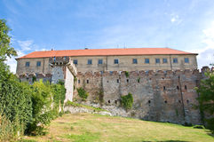 Back view of castle of Siklos,. Back view of castle of Siklos with cloudy background, Hungary royalty free stock images