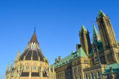The back view of The Center Block and the Peace Tower in Parliament Hill, Ottawa. Canada. Center Block is home to the Parliament of Canada Royalty Free Stock Photography