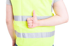 Back view of constructor in closeup showing thumb up Stock Photos