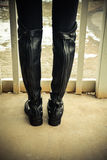 Back view of contemporary English riding boots Royalty Free Stock Photography