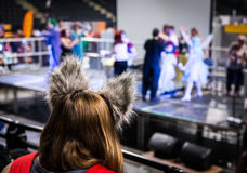 Back view of cosplayer at Yorkshire Cosplay Convention stock image