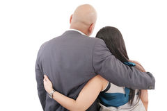 Back view of couple hug Royalty Free Stock Image