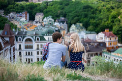 Back view of couple hugging and looking the city Royalty Free Stock Image