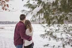 Back view of couple hugging Royalty Free Stock Photo