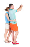 Back view of couple photographing. Royalty Free Stock Photography