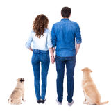 Back view of couple with their dogs isolated on white. Background Stock Image