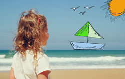 Back view of cute girl imagine boat, birds and sun with set of infographics over beach and sea background Royalty Free Stock Photos