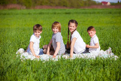Back view of cute kids seated on green grass Royalty Free Stock Image