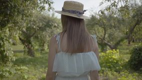 Back view of cute young woman in straw hat and long white dress walking through the green summer garden. Carefree rural. Back view of attractive young woman in stock video