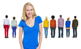 Back View of Diverse People and a Cheerful Woman Stock Photos