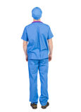 Back view of doctor in robe. Royalty Free Stock Photography