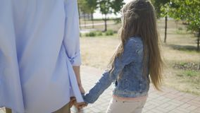 Back view of elder brother holding hand of his little sister and walking in park on the background of city. stock video