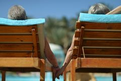 Back view of Elderly couple Royalty Free Stock Photo
