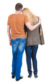 Back view of embrace of a young couple Royalty Free Stock Photography
