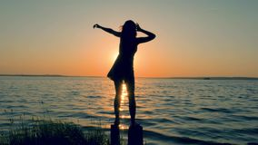 Attractive Woman In A Dress Dancing Standing On The Beach At Golden Sunset. Back view, energetic slender young woman in dress dancing on the beach at sunset stock footage