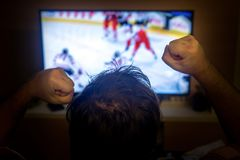 Fans watching ice hockey in television Royalty Free Stock Images