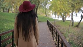 Trendy woman walking on wooden bridge in park stock footage