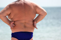Back view of fat man. Stock Photography