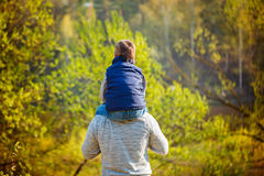 Back view of father  his son on shoulders on nature. Stock Photography