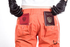 Back view of female buttocks in orange pants Stock Images