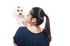 Back view of female with her beautiful bichon Stock Photos