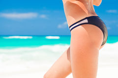 Back view of fit young woman in bikini. close up Royalty Free Stock Photography