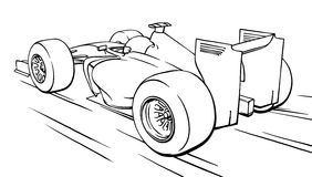 Back view funny fast cartoon formula race car illustration art Stock Photo
