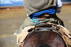 Back view of gaucho riding horse in Argentina Royalty Free Stock Photography