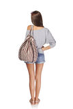 Back view girl with backpack Stock Image