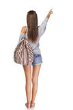 Back view girl with backpack Royalty Free Stock Photo
