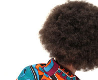 Back view of girl with huge afro. Back view of girl wearing a huge afro and multicoloured top against white background Stock Photos