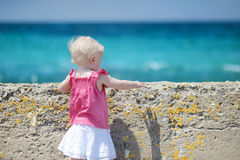 Back view of a girl looking to the sea Royalty Free Stock Photography