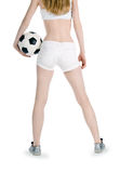 Back view of the girl with soccer ball Royalty Free Stock Photography