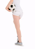 Back view of the girl with soccer ball Stock Photos