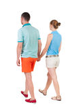 Back view going couple. Royalty Free Stock Image