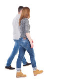 Back view going couple. walking friendly girl and guy holding h Stock Photos