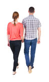 Back view going couple. Stock Photos