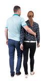 Back view going couple. Royalty Free Stock Photography