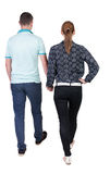 Back view going couple. Royalty Free Stock Images