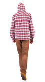 Back view of going  guy in a plaid shirt with hood Stock Photography
