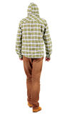 Back view of going  guy in a plaid shirt with hood Royalty Free Stock Photo