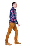 Back view of going  handsome man in checkered shirt. Stock Images