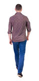 Back view of going  handsome man in jeans and a shirt. Royalty Free Stock Images