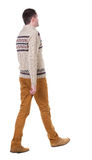 Back view of going  handsome man in jeans and warm sweater. Royalty Free Stock Images