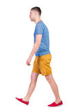 Back view of going  handsome man in shorts.  walking young guy Stock Photos