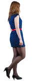 Back view of going  woman  in blue dress. Stock Photography