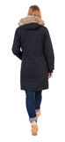 Back view of going  woman in parka. Royalty Free Stock Photography